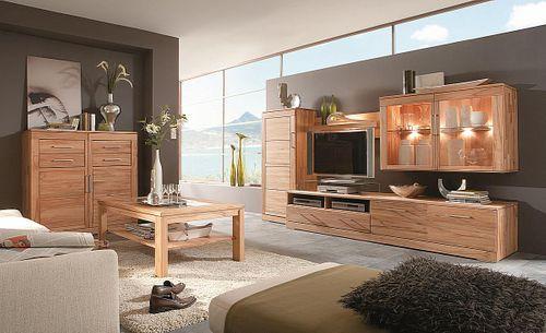 Massivholz Lowboard 238x47x60cm Tv-Bank mit Schublade Klappe Kernbuche massiv geölt Casera – Bild 6
