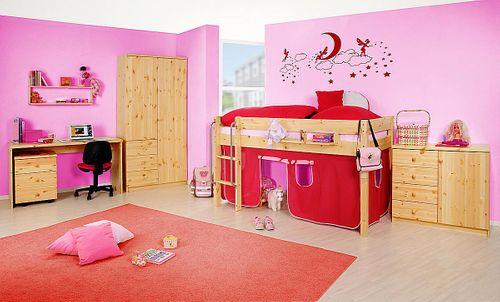 Hochbett Vollholz Spielbett Kiefer massiv Kinderbett natur lackiert – Bild 4
