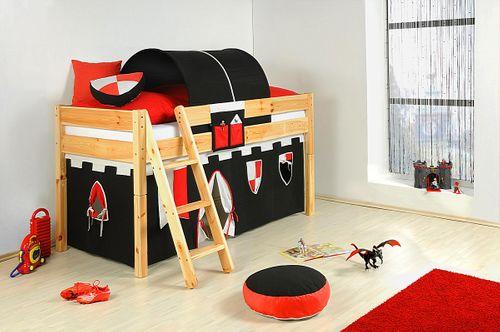 Kinderbett Vollholz Spielbett Kiefer massiv Hochbett natur lackiert – Bild 3