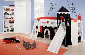 Kinderzimmer komplett mit Hochbett, 10-teilig, Kiefer weiß lackiert 001