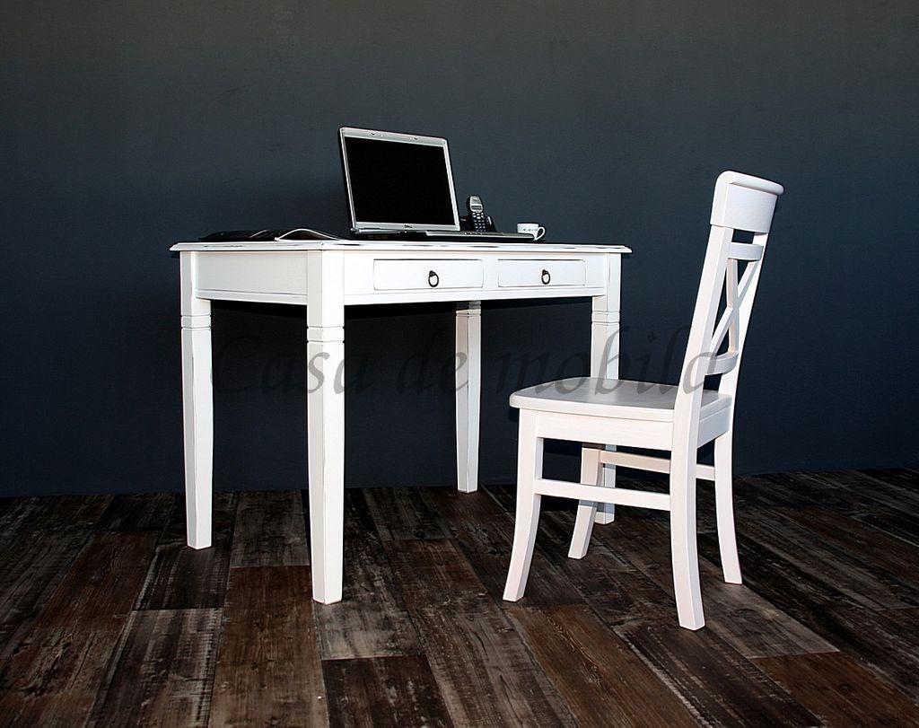 Schreibtisch 110x64 Vollholz Computertisch PC-Tisch Bürotisch weiss antik massiv – Bild 2