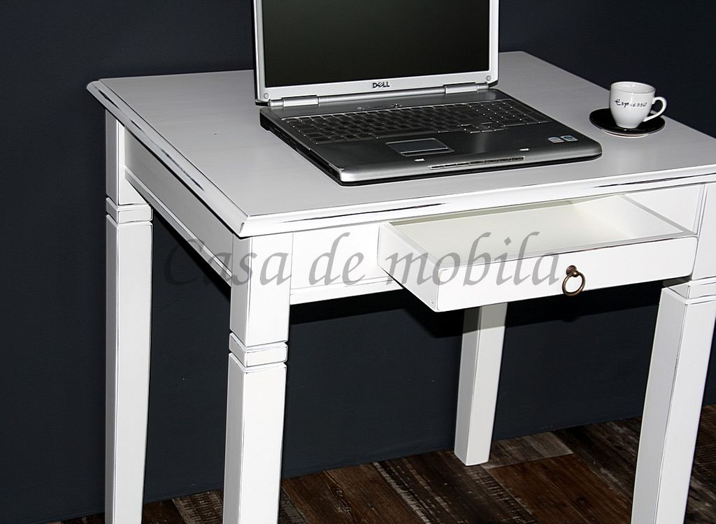 Massivholz Schreibtisch Esstisch Küchentisch Shabby Chic weiß  – Bild 5