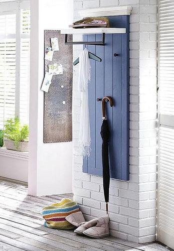 Garderobenpaneel Kiefer blau Holz Garderobe Vintage gebürstet – Bild 1