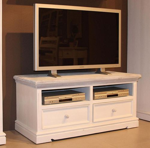 TV-Kommode Kiefer Shabby-chic Holz TV-Lowboard weiß antik recycled – Bild 5