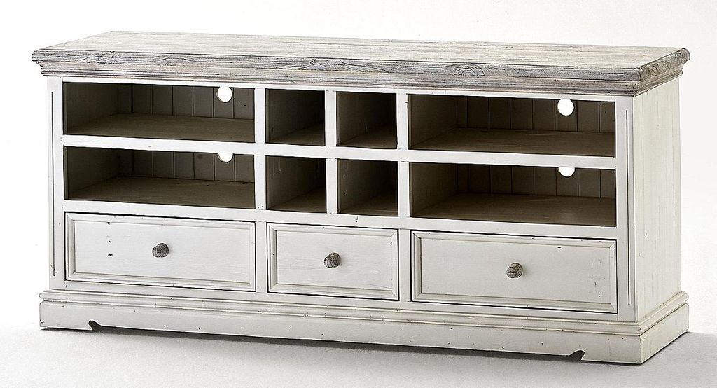 TV-Lowboard Kiefer Shabby-chic Holz TV-Kommode weiß antik recycled – Bild 2