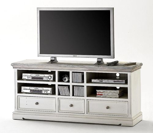 TV-Lowboard Kiefer Shabby-chic Holz TV-Kommode weiß antik recycled