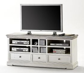 TV-Lowboard Kiefer Shabby-chic Holz TV-Kommode weiß antik recycled 001