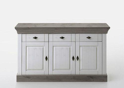 Sideboard 2farbig weiß grau Kiefer Anrichte Kommode Vollholz massiv
