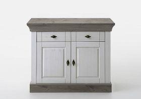 Kommode 108x85x45cm, 2 Türen, 2 Schubladen, Kiefer massiv 2farbig weiß / grau lasiert