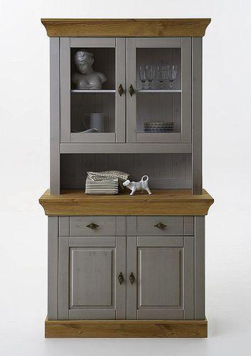 Küchenschrank 2farbig grau gelaugt geölt Kiefer Buffetschrank Buffet Vollholz massiv – Bild 1
