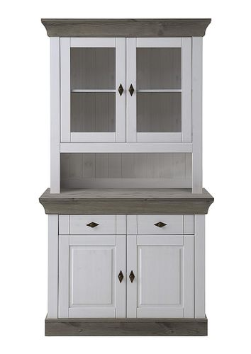 Küchenschrank 2farbig weiß grau Kiefer Buffetschrank Buffet Vollholz massiv – Bild 1