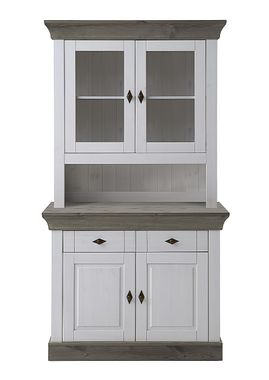 Buffetschrank 108x197x45cm, 2 Holztüren, 2 Glastüren, Kiefer massiv 2farbig weiß / grau lasiert