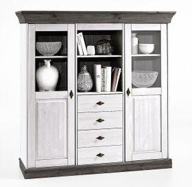 Highboard 143x145x45cm, 2 Türen, 4 Schubladen, Kiefer massiv 2farbig weiß / grau lasiert