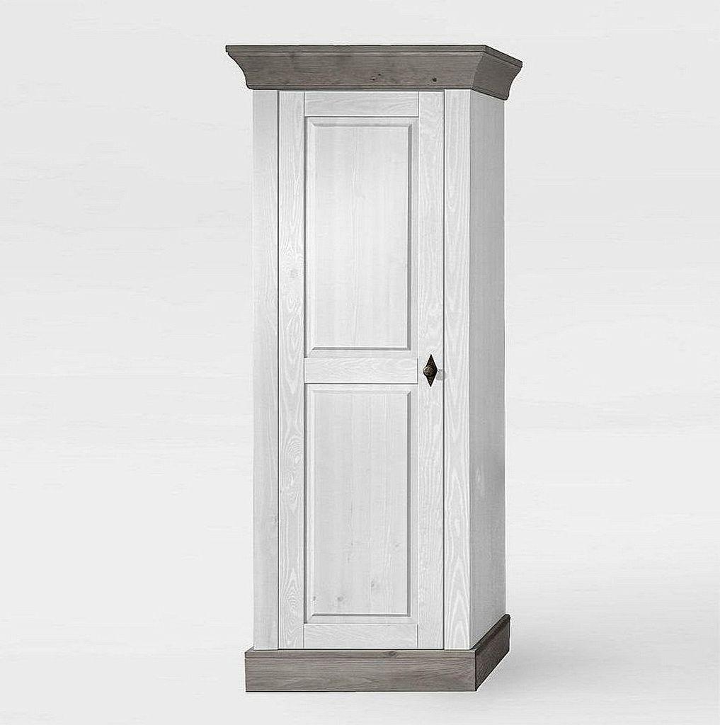 wohnzimmerschrank 65x163x45cm 1 holzt r kiefer massiv 2farbig wei grau lasiert. Black Bedroom Furniture Sets. Home Design Ideas