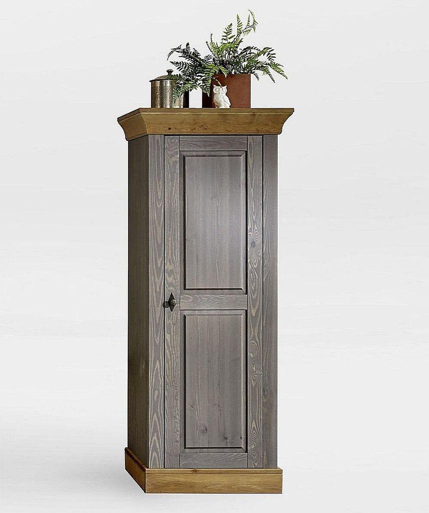 Wohnzimmerschrank 65x163x45cm 1 Holztur Kiefer Massiv 2farbig Grau