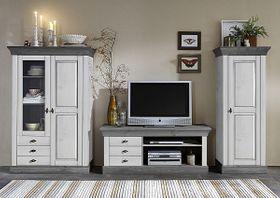 Wohnwand 3teilig, Lowboard, Vitrine, Schrank, Kiefer massiv 2farbig weiß / grau lasiert
