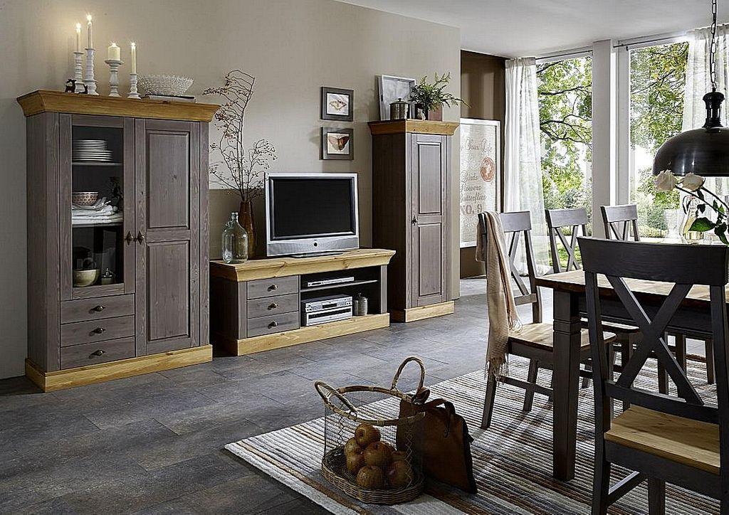 Massivholz Wohnwand 2farbig grau gelaugt geölt Kiefer Anbauwand  Wohnzimmermöbel