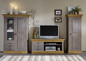 Wohnwand 3teilig, Lowboard, Vitrine, Schrank, Kiefer massiv 2farbig grau lasiert / gelaugt geölt