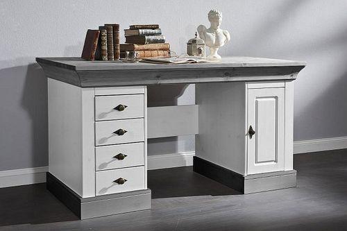 Schreibtisch 2farbig weiß grau Kiefer Bürotisch PC-Tisch Vollholz massiv