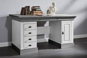 Schreibtisch 2farbig weiß grau Kiefer Bürotisch PC-Tisch Vollholz massiv 001