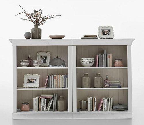 Wohnzimmerregal weiß lasiert Kiefer Bücherregal Standregale Vollholz massiv – Bild 1