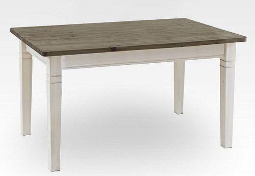Küchentisch 120x78cm 2farbig weiß grau Kiefer Esstisch Tisch Vollholz massiv – Bild 2