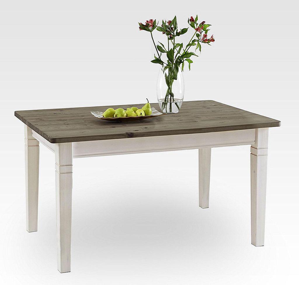 esstisch 160x78x90cm kiefer massiv 2farbig wei grau lasiert. Black Bedroom Furniture Sets. Home Design Ideas