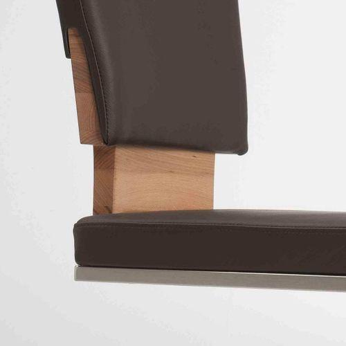 Stuhl freischwingend Echtleder dunkelbraun  – Bild 2