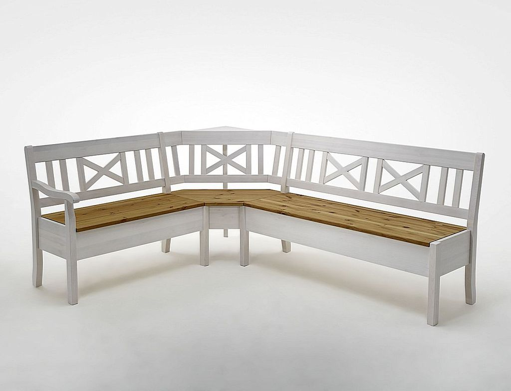 eckbank 170x93x170cm kiefer massiv 2farbig wei lasiert gelaugt ge lt. Black Bedroom Furniture Sets. Home Design Ideas