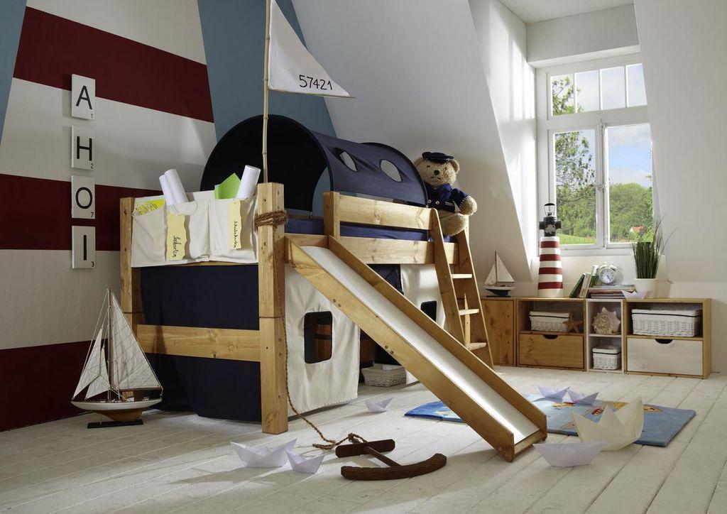 Etagenbett Rutsche : Bett halbhoch 210x110x230cm mit schrägleiter rutsche tunnelzelt