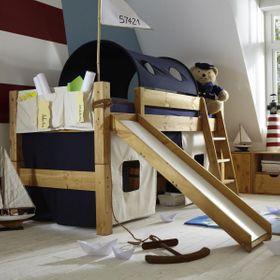 Bett halbhoch 210x110x230cm, mit Schrägleiter, Rutsche, Tunnelzelt und Vorhang, Kiefer massiv