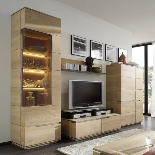 Massivholz Wohnwand 5-tlg. Asteiche Anbauwand spiegelseitig – Bild 1
