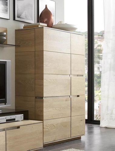 Wohnwand 5teilig ACERRO Anbauwand rustikale Asteiche massiv – Bild 3