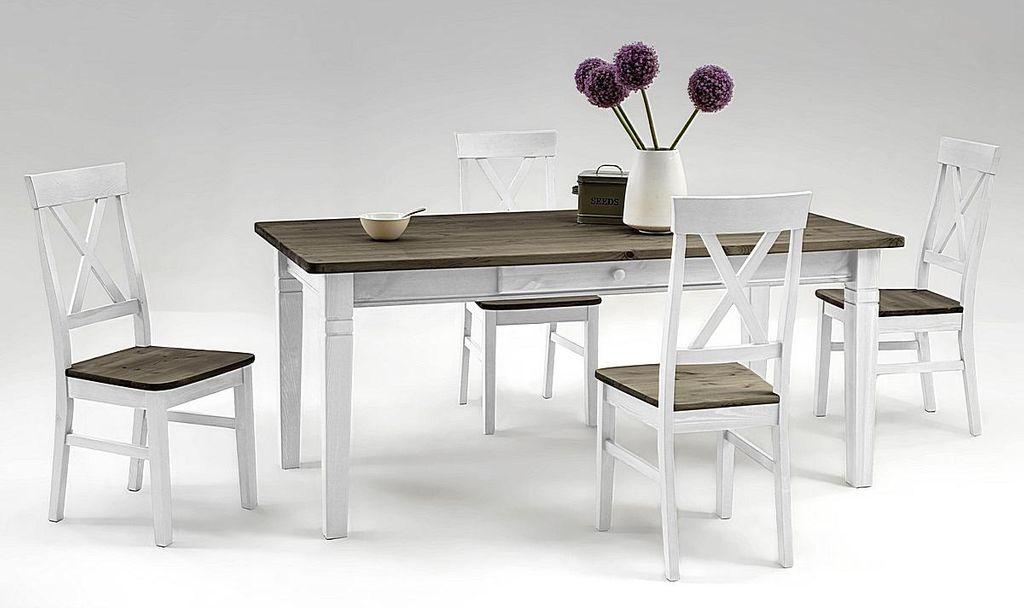 essgruppe 5 7teilig tisch 180x90 4 6 st hle kiefer massiv 2farbig wei grau lasiert. Black Bedroom Furniture Sets. Home Design Ideas