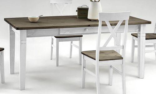 Essgruppe 2farbig weiß grau Kiefer Tischgruppe Vollholz massiv – Bild 2