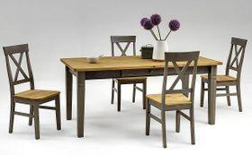 Essgruppe 5/7teilig, Tisch 180x90, 4/6 Stühle, Kiefer massiv 2farbig grau lasiert / gelaugt geölt