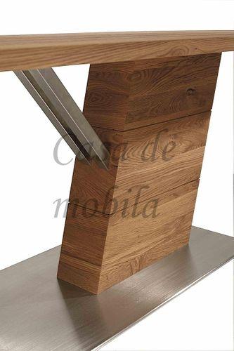 Massivholz Säulentisch 200x95 rust. Asteiche – Bild 4