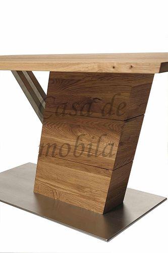 Massivholz Säulentisch 220x95 rust. Asteiche – Bild 5