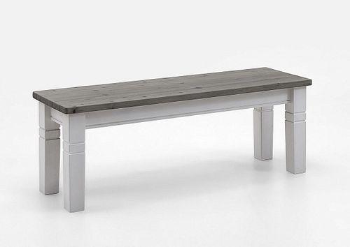 Sitzbank 130cm 2farbig weiß grau Kiefer ohne Lehne Vollholz massiv