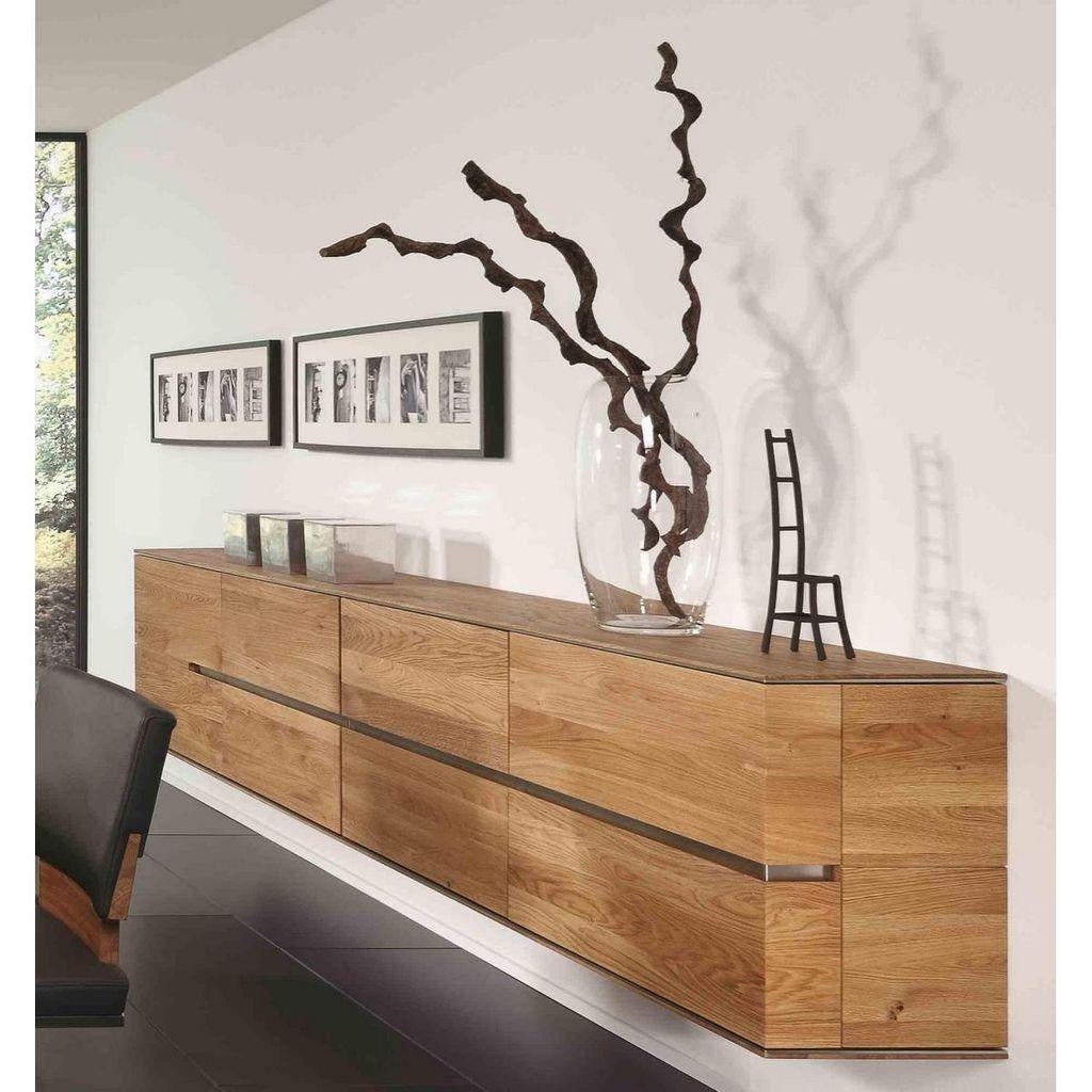 Lowboard Hangend 241x60x38cm 4 Holzturen Griffleiste Rechts