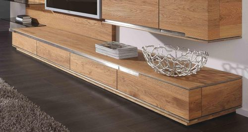 Massivholz TV-Lowboard Asteiche 241x56cm – Bild 1