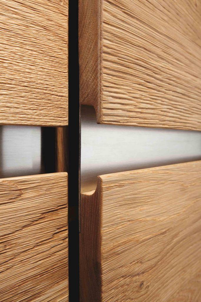 Wohnwand 4teilig ACERRO 337x140x56cm Anbauwand rustikale Asteiche massiv – Bild 7