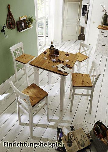 Barhocker Sitzhöhe 65cm 2farbig weiß gelaugt Kiefer BistrostuhlVollholz massiv – Bild 3