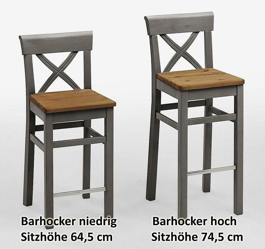Barhocker Sitzhöhe 75cm 2farbig grau gelaugt Kiefer Bistrostuhl Barstuhl Vollholz massiv – Bild 2