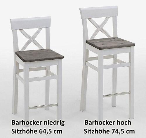 Barhocker Sitzhöhe 75cm 2farbig weiß grau Kiefer Bistrostuhl Barstuhl Vollholz massiv – Bild 2