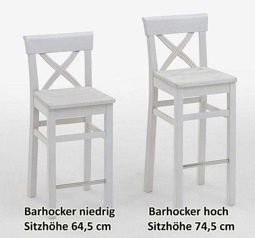 Barhocker Sitzhöhe 75cm weiß Kiefer Bistrostuhl Barstuhl Vollholz massiv – Bild 2