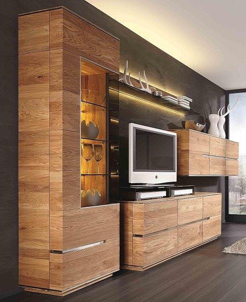 Wohnwand 4teilig ACERRO 375x206x56cm Anbauwand rustikale Asteiche massiv – Bild 1
