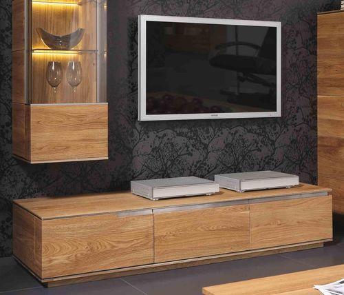 Wohnwand 5teilig ACERRO 350x206x56cm Anbauwand rustikale Asteiche massiv – Bild 3