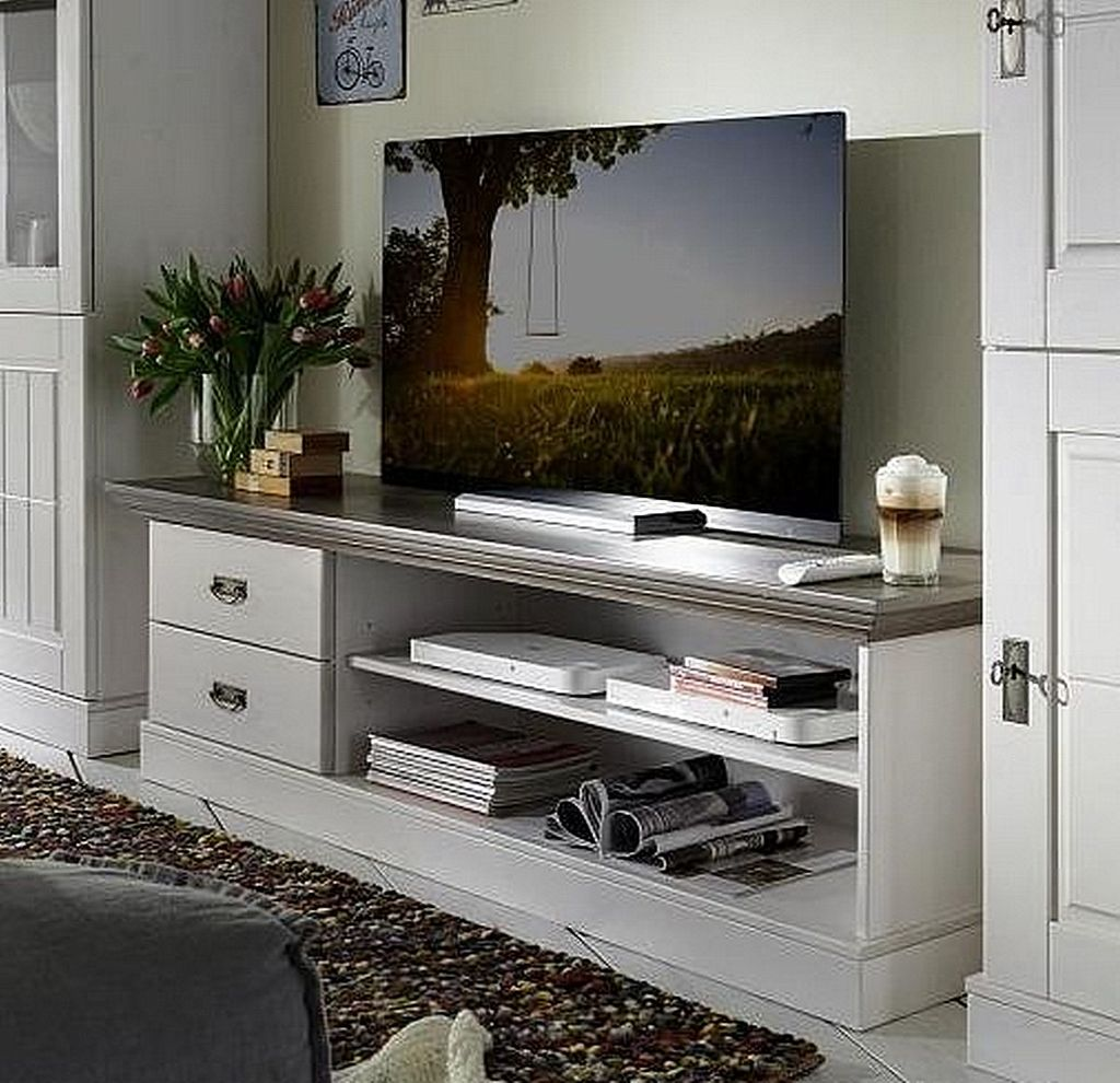 tv lowboard 119x53x48cm 2 schubladen kiefer massiv. Black Bedroom Furniture Sets. Home Design Ideas