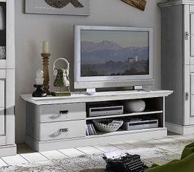 TV-Lowboard 119x53x48cm, 2 Schubladen, Kiefer massiv weiß lasiert